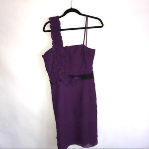 Xscape by Joanna Chen purple tiered one shoulder